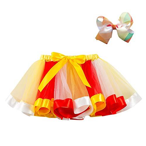 Lazzboy ragazze tutù tutu tulle rainbow balletto gonna principessa per 3-10 anni dress-up costume festa con fiocco clip di capelli set(3-4 anni,giallo)