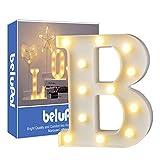 Luci LED decorative a forma di lettere dell'alfabeto, colore bianco, alimentate a batteria, per decorazione di casa, matrimoni, feste, reception, bar (lettera B)