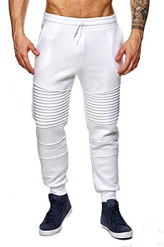 MEGASTYL Herren Jogginghosen Sweat-Pants Biker-Style Slim-Fit 100% Baumwolle, Farbe:Weiß, Größe:S