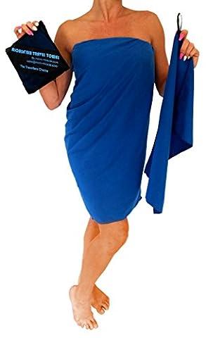 Serviette de voyage en microfibre XL 76,2x 152,4cm avec serviette de toilette gratuit–Séchage rapide, compact, doux, léger, antibactérien. pour la randonnée, le camping, plage, gym, Natation. Sac de transport inclus., mixte, bleu