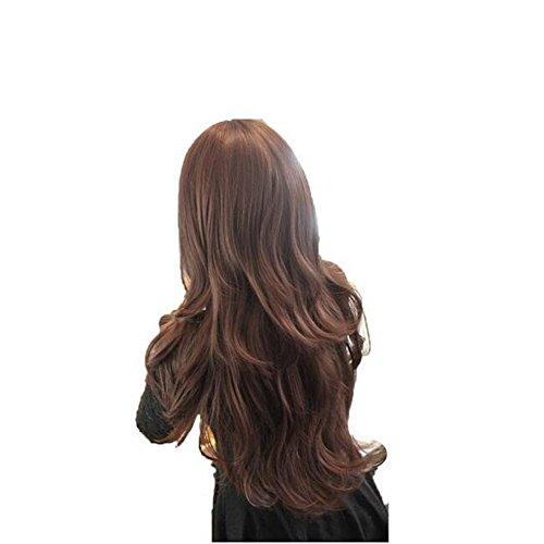 Perücke winwuxi Damen Mädchen Fashion Wavy Curly langes Haar, Echthaar volle Perücken mit hairnet braun - Curly Damen Volle Perücke