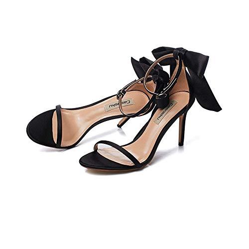 Schuhe 8.5cm Schwarz, Nude Farbe High Heels, Sandalen, Casual Student, eine Schnalle mit feinen Sexy Silk Satin Bow (Farbe : Schwarz, Größe : 35 EU) Black Satin Bow Sandals
