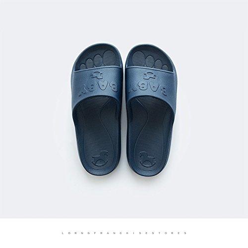 DogHaccd pantofole,Le stanze da bagno sono in estate home ciabatte di plastica femmina interni home morbida antiscivolo coppie bagno cool pantofole maschio Bambino - blu scuro4