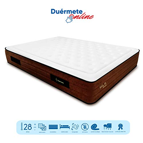 Duérmete Golden Dreams XL Colchón Viscoelástico con Visco Gel y Carbón Activo de 150 x 200 x 28...