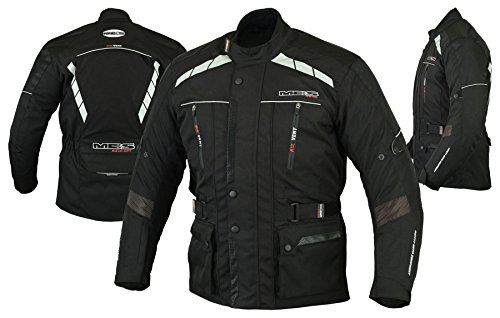 MBS MJ21 James Motocicleta Motocicleta larga chaqueta de viaje textil (Negro, S)