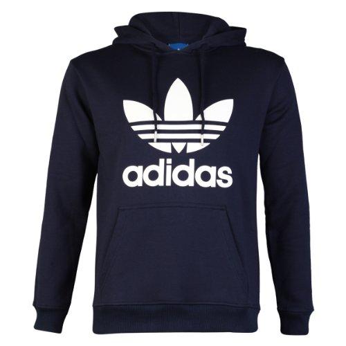 Adidas Originals Trefoil Logo con cappuccio felpa con cappuccio Top, Bambino Uomo, Navy Blue/White, L