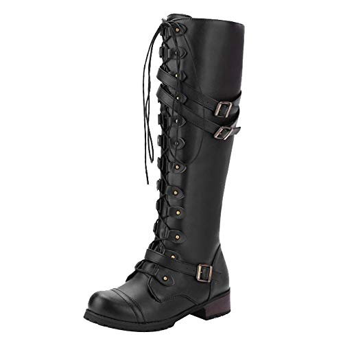 TEELONG Ladies Long Boots Winter Autumn Shoes Women Steampunk Gothic Vintage Style Retro Punk Buckle Combat Boots Casual Riding Boots Fashion Lace-Up Side Zipper Mid Boots Comfrotable Warm Shoes
