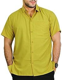 La Leela hommes occasionnels rayonne bouton vers le bas manches courtes aloha plaine détendue ajustement robe de bureau xs chemise de moutarde - 5xl