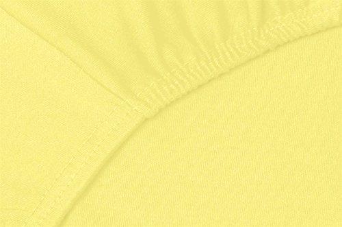 Double Jersey - Spannbettlaken 100% Baumwolle Jersey-Stretch bettlaken, Ultra Weich und Bügelfrei mit bis zu 30cm Stehghöhe, 160x200x30 Gelb - 5