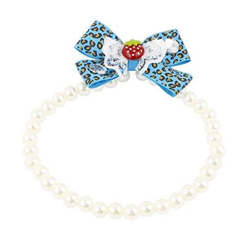 DealMux Spitzebowknot-Accent Hund Kunststoffperlen Nachahmungen von Perlen-Kragen-Halskette White Blue L