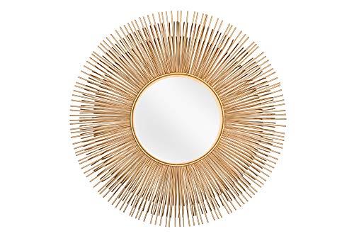 DuNord Design Wandspiegel Gold rund 61cm Metall-Aluminium Spiegel klein