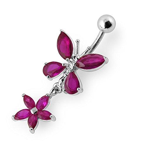 Bijou de Corps Anneau de nombril motif Papillon en pierres avec Fleur pendante en Argent Sterling 925 Red