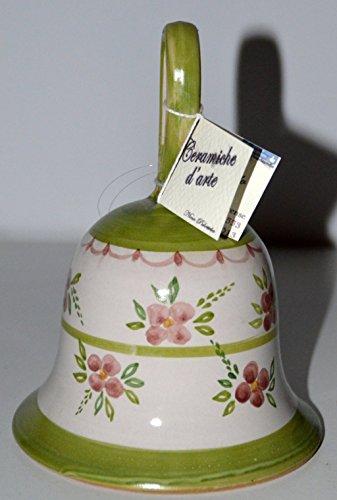 Campanella in Ceramica Linea Fiori Rosa Bordo Verde Handmade Le Ceramiche del Castello Made in