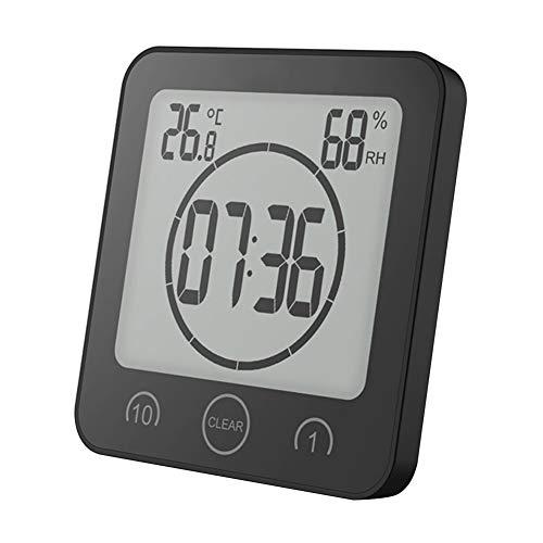 Thermometer Stand (NAttnJf Thermometer Hygrometer Wecker Digitale Dusche Uhr Dusche Wand Saugnapf Stand Countdown Temperatur Luftfeuchtigkeit Bad Digitaluhr Schwarz)