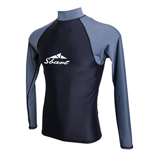 MagiDeal Herren Langarm Rash Guard Wetsuit Top Anti UV und Sonnenschutz Surfen Schwimmen Tauchen - L (Neoprenanzug Uv-schutz Langarm)