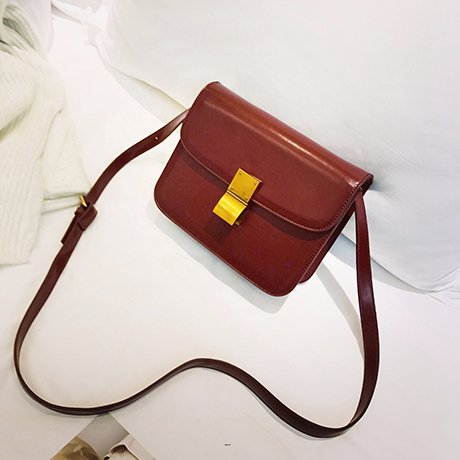 OME&QIUMEI Kleines Quadrat Lock Bag Casual Schultertasche Messenger Bag Wine red trumpet