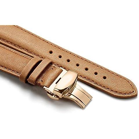 iStrap 20mm acolchado de piel auténtica correa para reloj banda oro rosa deployant mariposa cierre