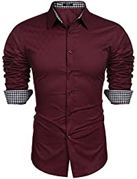 BURLADY Herren Hemd Slim Fit Diamant-Gitter Karohemd Kariert Langarmshirt  Freizeit Business Party Shirt für 6dd208fb11