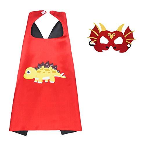 Kinderumhang Maske Dinosaurier Capes und Masken für Kinder verkleiden Umhänge Kostüm Tragbar Leicht Halloween Fantasie Kreativität Geschenk für Kinder Geburtstagsparty