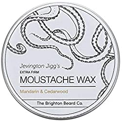 Brighton Beard Company Jevington Jiggs's Mandarin & Cedarwood Extra Firm Moustache Wax, Handmade & Reworkable Wax 30ml Tin
