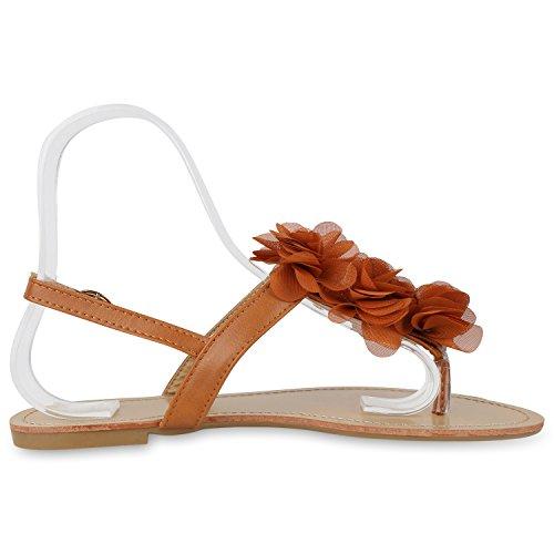 Modische Damen Sandalen Blumen Zehentrenner Sommer Schuhe Party Abiball Hochzeit Hellbraun