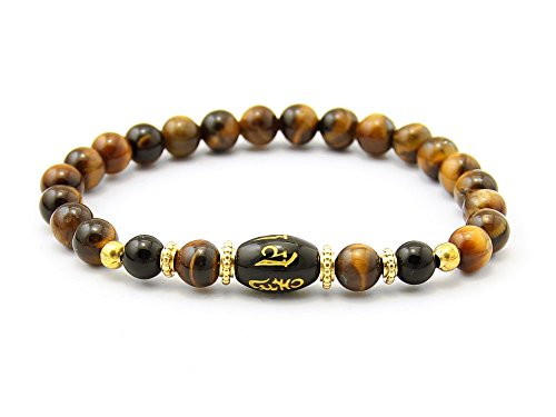 BPO52015 - Agathe Creation - Bracelet tibetain porte bonheur - Perle centrale en pierre d'onyx - Perles pierre œil de tigre 6 mm - Taille sur mesure - Fait main