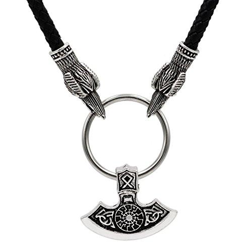 3d ravens head othala rune mjolnir viking axe necklace thors 3d aloadofball Gallery