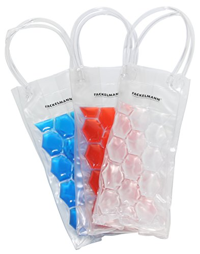 FACKELMANN Flaschen-Kühltasche, Flaschenkühler aus Kunststoff, Sektkühler als Geschenk (Farbe: Weiß, Rot, Blau - Nicht frei wählbar), Menge: 1 Stück