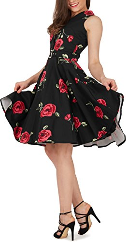 Black Butterfly 'Luna' Retro Infinity Kleid im 50er-Jahre-Stil (Große Rote Rosen, EUR 36 – XS) - 4