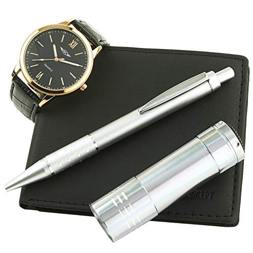 Montre-Concept - Geschenk-Set Männer uhr mit taschenlampe, brieftasche und kugelschreiber : CLP-1-0066