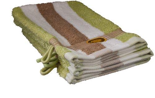 Gözze Waschhandschuh 4er-Set, 100% Baumwolle, 17 x 24 cm, New York, Streifen, Marone/Weiß/Limone, 555-9800-A1