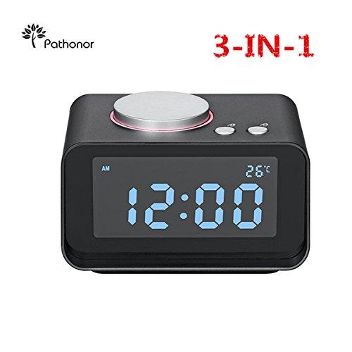 Reloj proyector FM LCD Digital, Pathonor Radio Despertador con Proyector/Temperatura interior, Alarmas Dual, Puerto USB dual,Altavoz Negro