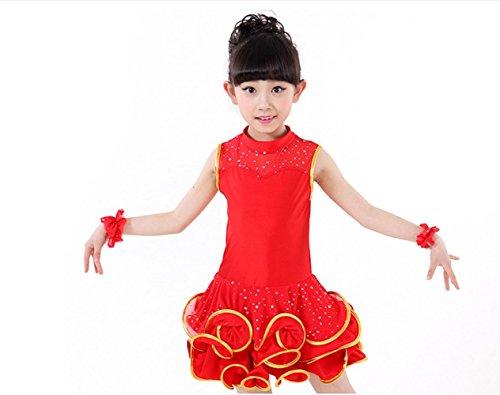 ZHANGQIAN Mädchen Kleider Ballettkeider Ballettanzug Turnanzug Trikot Tanz Leotard Kleider mit Tüll Rock,Red,120Cm
