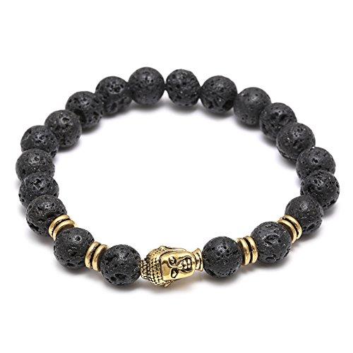 Elegance Parisienne Modisches Armband Schwarz Vulkan-Stein Buddha Kopf Lava Asche Elastisch Unisex Für Frauen Damen Mädchen