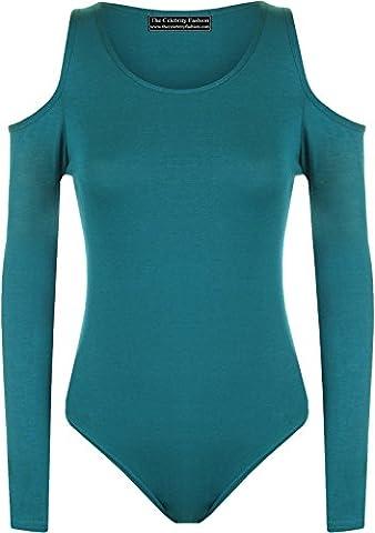 Womens Cold Shoulder Bodysuit Ladies Slash Neck Long Sleeve Cut Out Leotard Top