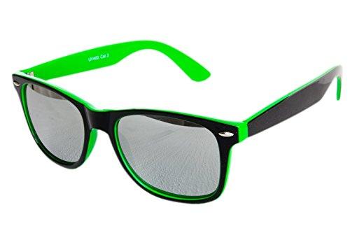 Nerdbrille Sonnenbrille Nerd Atzen - Neon Grün Schwarz Silber Verspiegelt