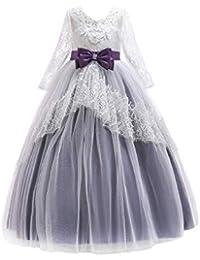 Zhhlinyuan Chicas Manga Larga Vestido de Novia Floral Cordón con Bowknot - Adorable Vestidos de Princesa