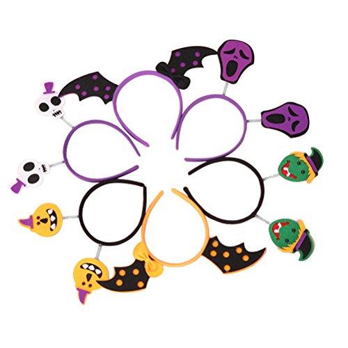 FRCOLOR Schädel Fledermaus Kürbis Boppers Haarband Haarbänder für Kostüm Halloween Party (6 Stück) (Niedliche Hexe Kostüme Muster)