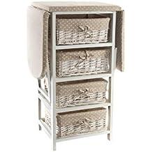 DonRegaloWeb - Mueble cajonera para planchar de madera mdf con 4 cajones de mimbre en color blanco y crudo