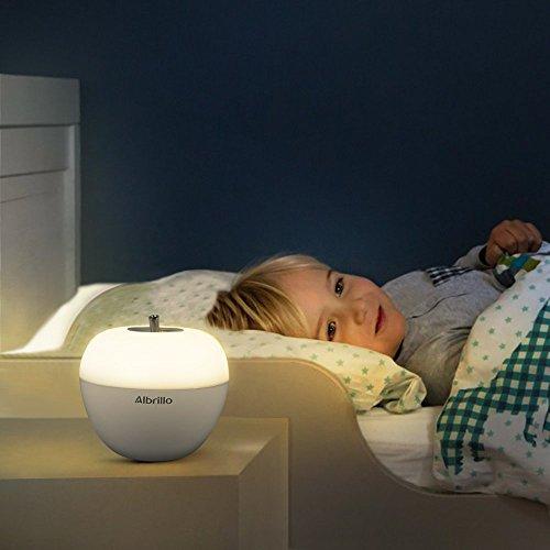 Albrillo kabellose LED Stimmungslicht farbiges Nachttischlampe mit Blasen-Sensor und Batteriebetrieben