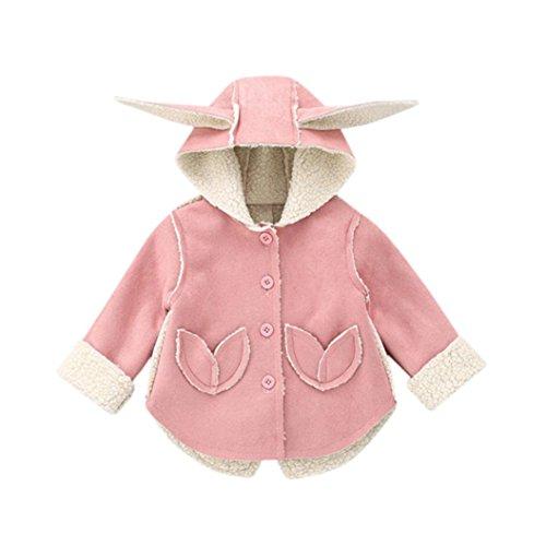 VENMO Baby Ohr warme Winter Tops Lässige Kleidung Mantel Mädchen Jungen Steppjacke Kapuzenjacke Winterjacke Kleinkinder Baumwolle Gefüttert Warm Wintermantel Outerwear mit Kapuze (Size:24M, Pink)