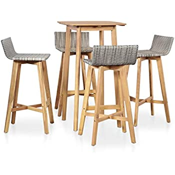 mewmewcat Ensemble Table 4 chaises de Bar Ensemble de Bar d\'extérieur Salon  de Jardin en résine tressée Bar de Jardin Table Haute Cuisine