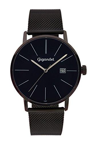 Gigandet Herren-Armbanduhr Minimalism Quarz Uhr Analog Milanaise Edelstahlarmband Schwarz Blau G42-015