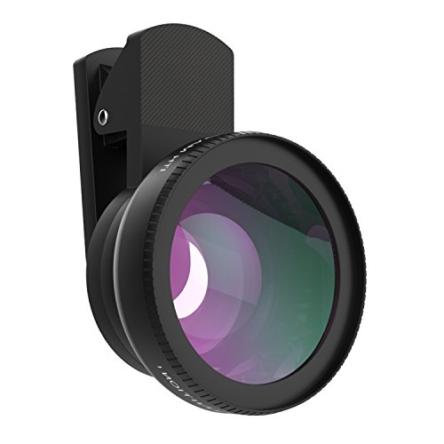 MoKo Universal Phone Camera Lens Kit, Clip-On 0.45X Super Wide Angle Lens and 15X Super Macro Lens, for iPhone SE / 6s / 6s Plus / 5s, Samsung Galaxy S7 / S7 Edge / S6, HTC and Other Smartphone, Negro