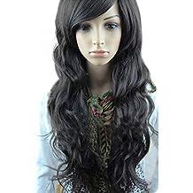 Dastrues Pelucas sintéticas del pelo de las mujeres largo ondulado rizado completo Bang peluca de pelo