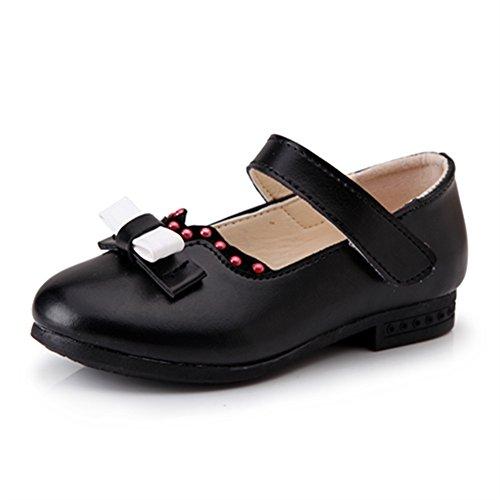 maxu Kid Fille Robe Fashion Velcro Plat Ballerine Chaussures Noir