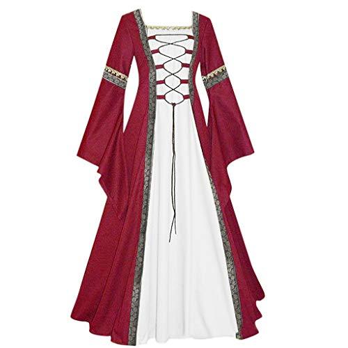 DRESS_start Mittelalterlich Bodenlangen Renaissance Gothic Cosplay Kleid Für Damen Langarm Mittelalter Viktorianischen Königin Kostüm Maxikleid Vintage Bauer Spitze