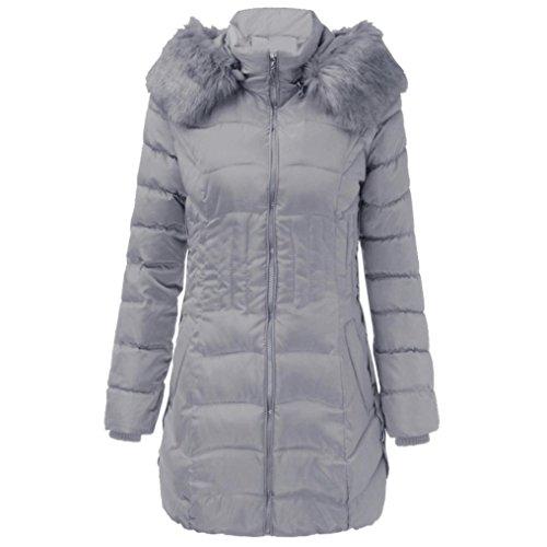 SHOBDW Moda Mujeres de Invierno Chaqueta Larga Abrigo de algodón Caliente Slim Trench Parka Ropa L-4XL (Gris, XXL)