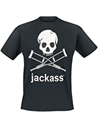 Jackass ACTS- MTV, Mens T Shirt, Jackass Skull, Black-Grey Melange-White Print Metallic Print, Size: S, M, L, XL, XXL