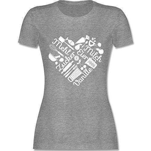 Küche - Herz mit Back Elementen - XL - Grau meliert - L191 - Damen Tshirt und Frauen T-Shirt - Bäcker Kirsche